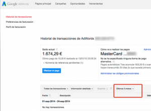 periodo facturacion adwords